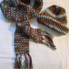 Custom Handmade SCARF & BEANIE Set Brown and Blue Tones. Earth & Sky. SCARVE