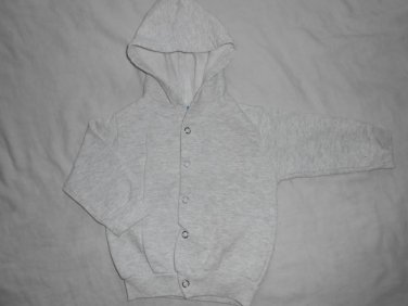 BOYS Light Gray Button Up SWEATER HOODIE Long Sleeve 12 Months 12M Kids Clothes