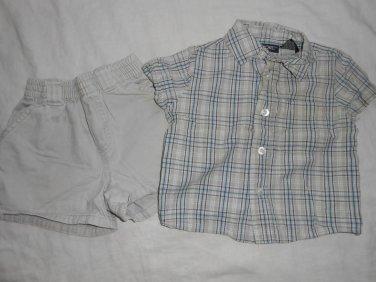 BOYS 2 Piece Set BUTTON UP SHIRT and SHORTS 12 Months 12M Kids Clothes CHEROKEE