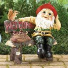Welcome GARDEN GNOME Greeting STATUE Sign Figurine Outdoor Decor (#39265)