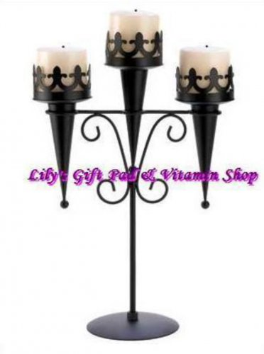 MEDIEVAL GOTHIC Triple CANDLE Stand Pillar Candle Holder Black Iron (#14114)