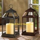 Contemporary CANDLE LANTERN Iron & Glass BRONZE Or RUSTIC SILVER (#14125,6)
