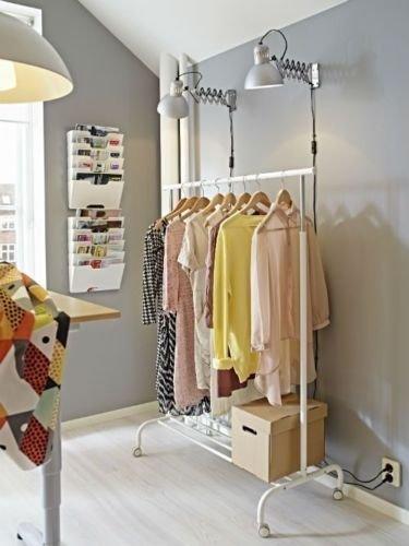 IKEA RIGGA ADJUSTABLE CLOTHES RAIL WITH SHOE RACK, WHITE