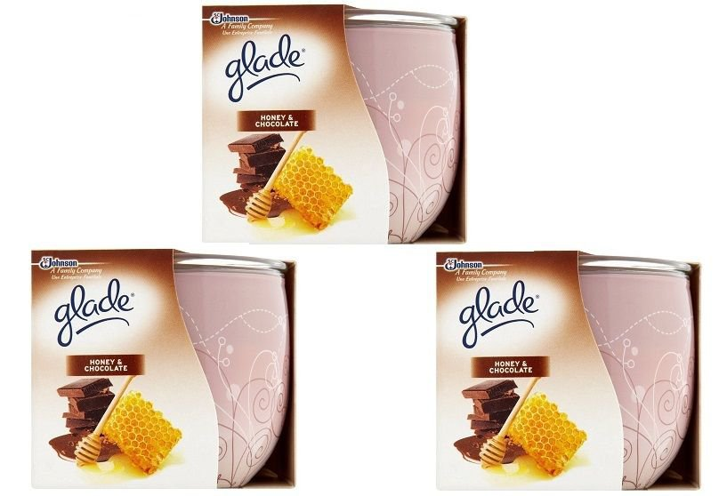 3 X Glade Spiced Limited Edition Honey and Chocolate Scented Candle 3 x 120g /3 x 30 Hours