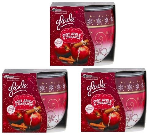 3 X Glade Spiced Limited Edition Cosy Apple and Cinnamon Scented Candle 3 x 120g /3 x 30 Hours