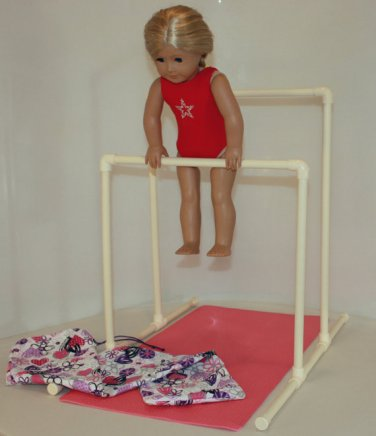 Gymnastics Uneven Bars for American Girl Doll or 18 inch doll with mat and carry bag