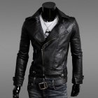 JK17 Men's Locomotive Slim Fit Men's Leather Jacket Male Leather Coat - Black (Size L)
