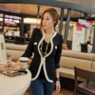 Women's Slim Blazer / Small Suit with Piping Detail - Black + White (Size-L)