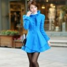Stylish Fur Collar Artificial Woolen Women's Coat - Blue (Size-L)