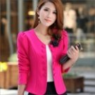 Slim Temperament Women's Double Breasted Short Suit - Deep Pink (Size L)