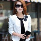 Slim Fit Temperament Women's Double-Breasted Long-Sleeve Short Suit - White (Size-L)
