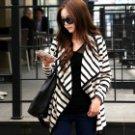 DC-A690007 Women's Fashion Casual Cotton Cardigan Coat - White + Black (L)