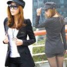 E-LOVE 2013 New Korean Fashion Medium Style OL Slim Fit Blazer PU Leather Coat - Black (Size-M)