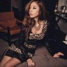 Sexy Leopard Pattern Long Sleeve Lace + Ice Silk Dress - Black + Brown