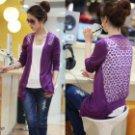 Women's Fashion Candy Long Sleeve Lace Knitting Cardigan - Purple