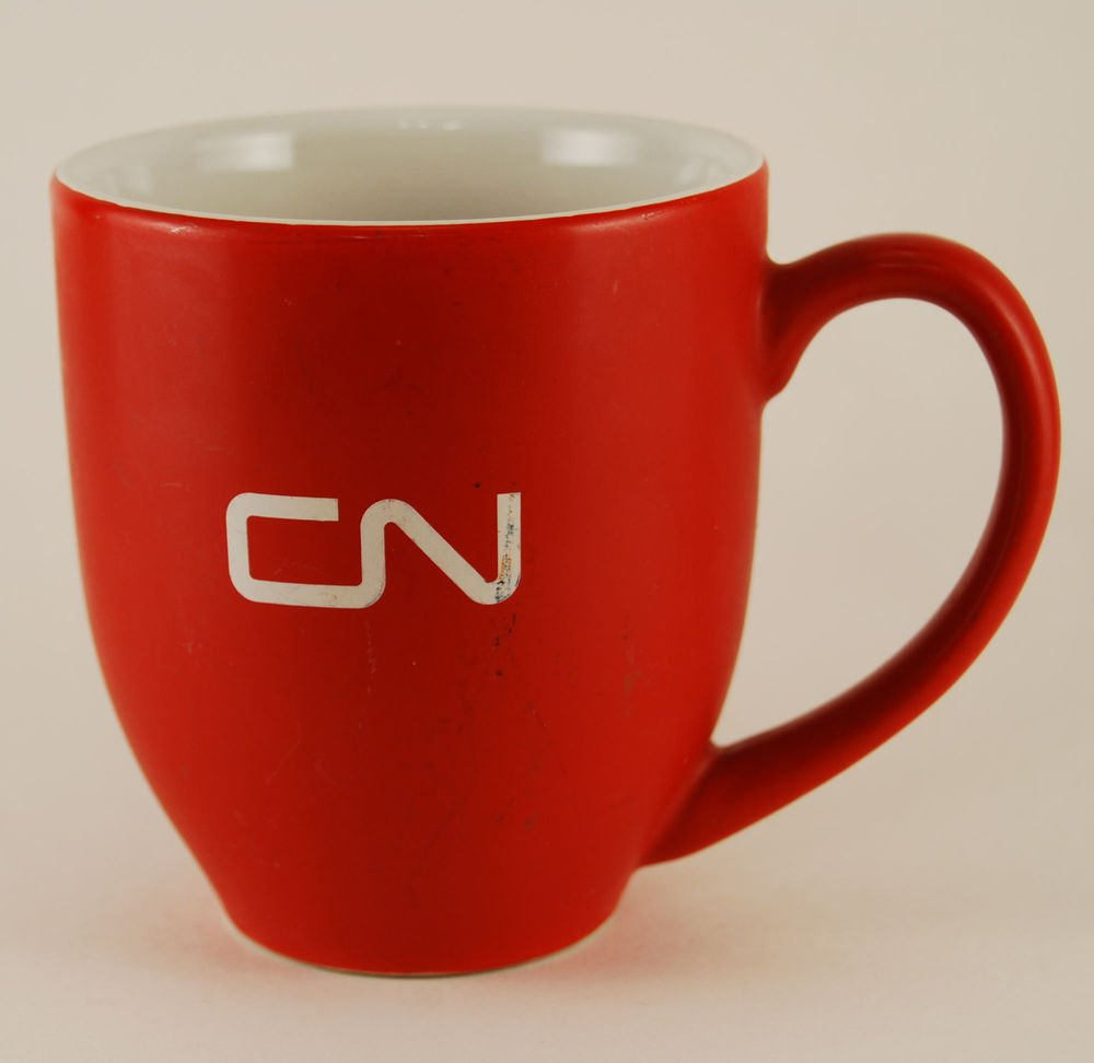 Train Ceramic Coffee Mug Cup Red CN Logo Canadian National Railway Railroad