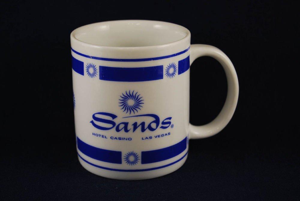 Sands White Blue Ceramic Coffee Mug Cup Hotel Casino Vegas Rat Pack Oceans 11