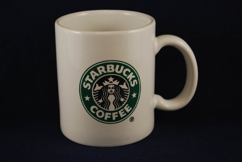 Vint Starbucks White Ceramic Coffee Mug Cup Green Black Mermaid Siren Catalina