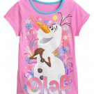 Disney FROZEN Girls Tee SIZE 4 Pink ☀ OLAF ☀ T-Shirt GLITTER New w Tags NWT in Bag