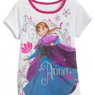 Disney FROZEN Girls Tee SIZE 6 White ☀ ANNA ☀ T-Shirt GLITTER New w Tags NWT in Bag