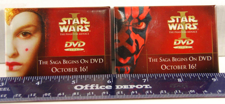 STAR WARS Phantom Menace Darth Maul Queen Amidala DVD Release Promo Pins Buttons