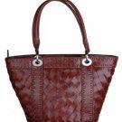 Alexandra Jordan Dark Brown Woven Leather Handbag