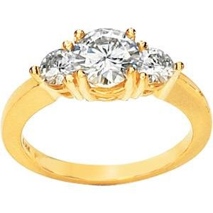 14K Yellow Gold Created Moissanite 3 Stone Engagement Ring
