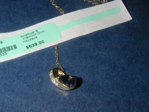 BEAUTIFUL AMETHYST DIAMOND AND GOLD NECKLACE - BRAND NEW - RETAIL $639.00 - SUPER SALE !