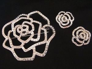 Avon Shimmering Silver Plated Flower Pin Brooch w/ Clip Earrings