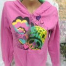 Hide & Seek Pink Peace Womens Juniors Hoodie Size Medium