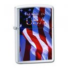 Brushed Chrome, Made in the USA Flag