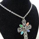 Avon Vintage Romanesque Cross Necklace w/ Stones & Chain