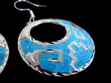 Fire Opal Light Blue Sterling Hoop Pierced Earrings