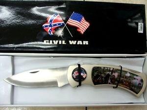Civil War 1861-1865 Giant Large Lockback Knife w/ Wood Stand
