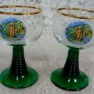 Mauseturm Bingen Collectible Gold Rim Glass Glasses (2)