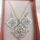 Avon Silvertone Cameo Pendant Necklace w/ Earrings - (NEW)
