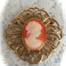 Goldtone Vintage Cameo   Lady Brooch Pin