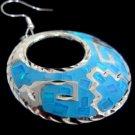 Sterling Silver Fire Opal Light Blue Sterling Hoop Pierced Earrings