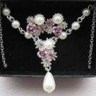 Avon Mellisa Rose Pearl Necklace & Pierced Earring Gift Set