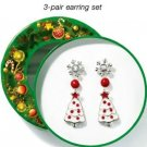 Snowdrift Forest 3 Pair Pierced Christmas Earrings Set