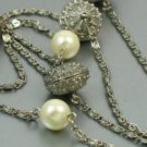 Avon Pearlesque Accent Silvertone Flapper Necklace