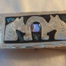 Horse & Horseshoe Abalone Silver Plated Money Clip