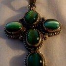 Sterling Silver Cross w/ Green Gem Stone Pendant