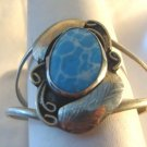 Sterling Plated Leaf Bracelet w/ Blue Stone