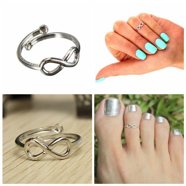 Silver Plated Infinity 8 Symbol Toe Ring Knuckle Ring Women Jewelry