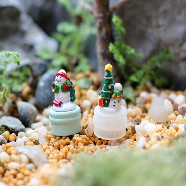 DIY Miniature Snowman Pine Ornaments Potted Plant Garden Decor
