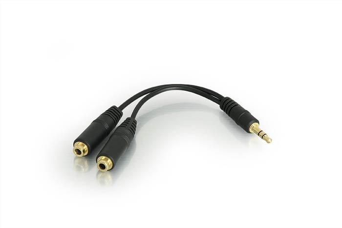 3.5mm 1/8 Male To 2 Dual Female Y Splitter Audio Cable