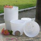 White Round Flower Pot Plastic Garden Flowerpot
