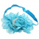 Baby Girl Infant Pearl Rose Flower Hair Band Hairband Headdress