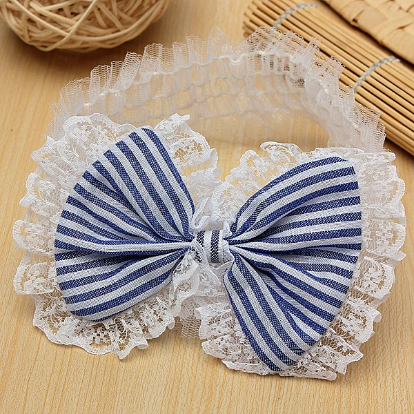 Baby Children Lace Bow Headband Flower Stripes Elastic Headwear